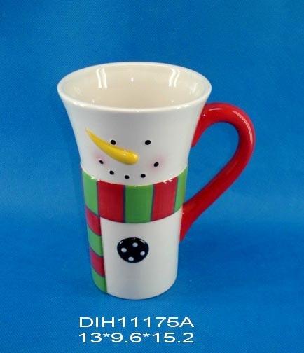 Funny Snowman Ceramic Mug for Christmas Decoration