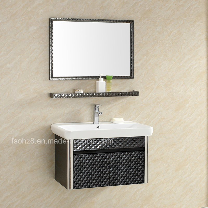 Elegant Black Stainless Steel Bathroom Vanity for Wall