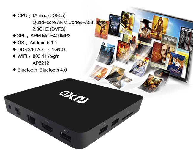 Smart Android TV Box Amlogic S905 with Quad-Core 1GB/8GB/ 4k