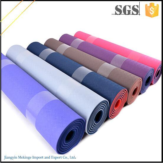 Latest Technology -Double Layers Non Toxic Custom TPE Yoga Mat with Friction