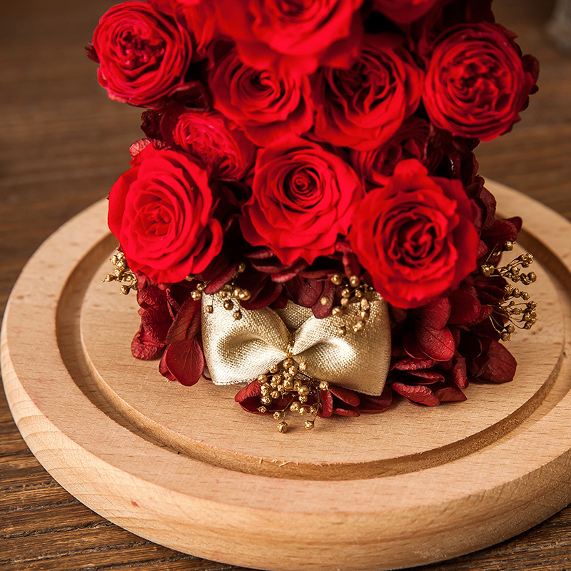100% Natural Real Rose Flower in Glass for Valentine Birthday Gift