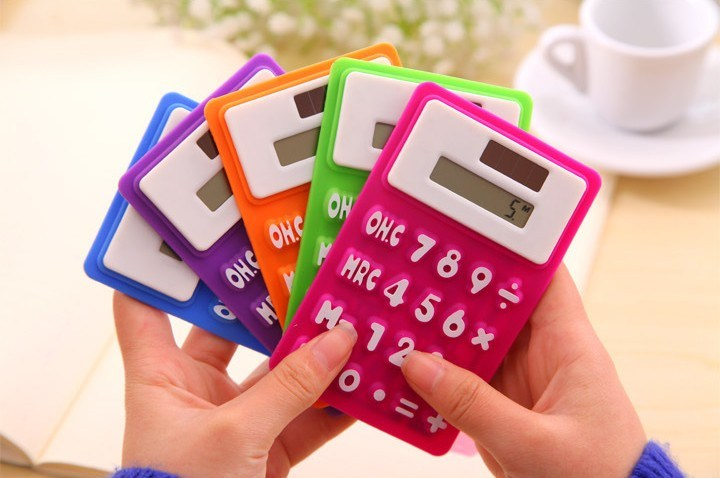 8 Digit Solar Powered Pocket Silicone Calculator, Silicone Foldable Calculator