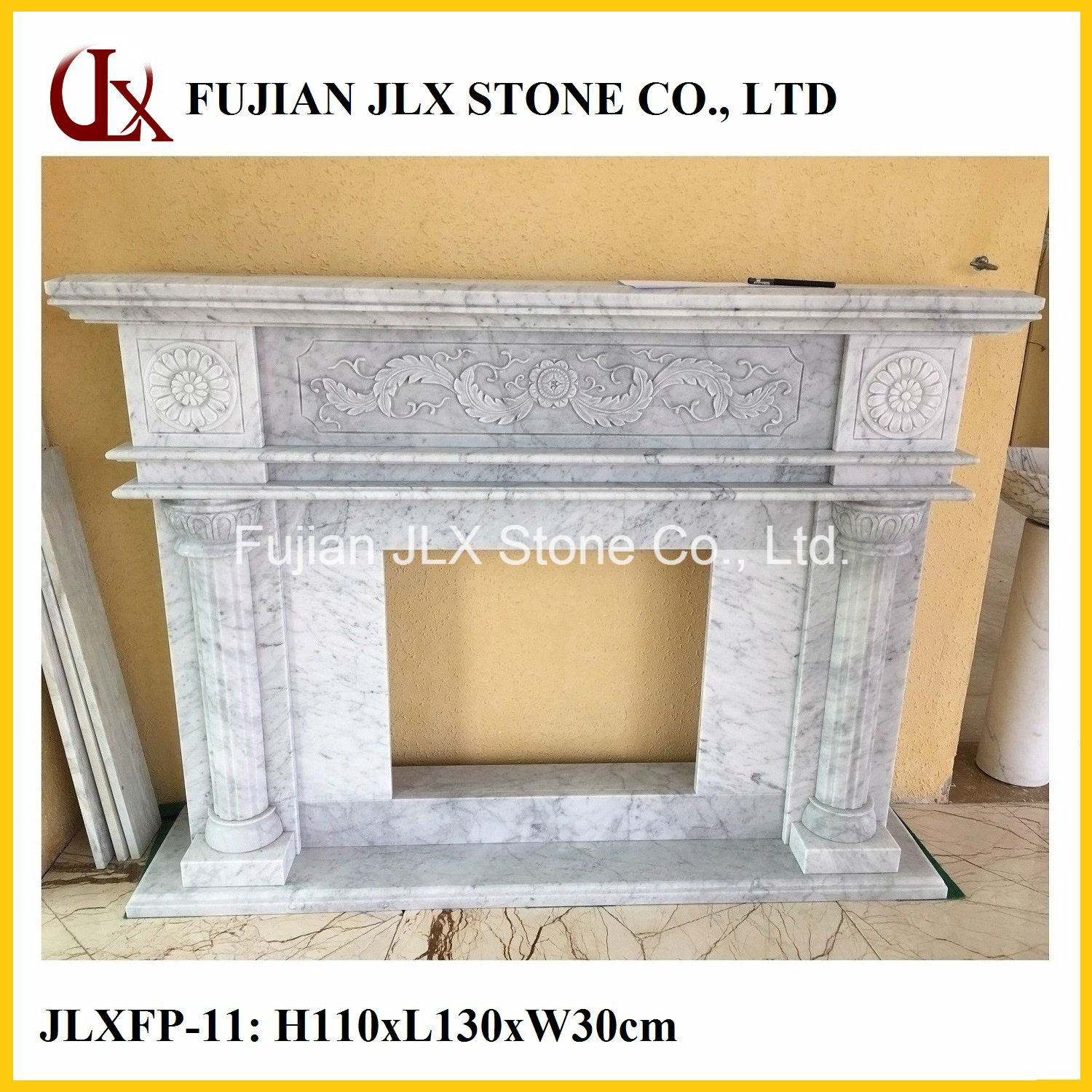 Stone Fireplace in Marble Carving