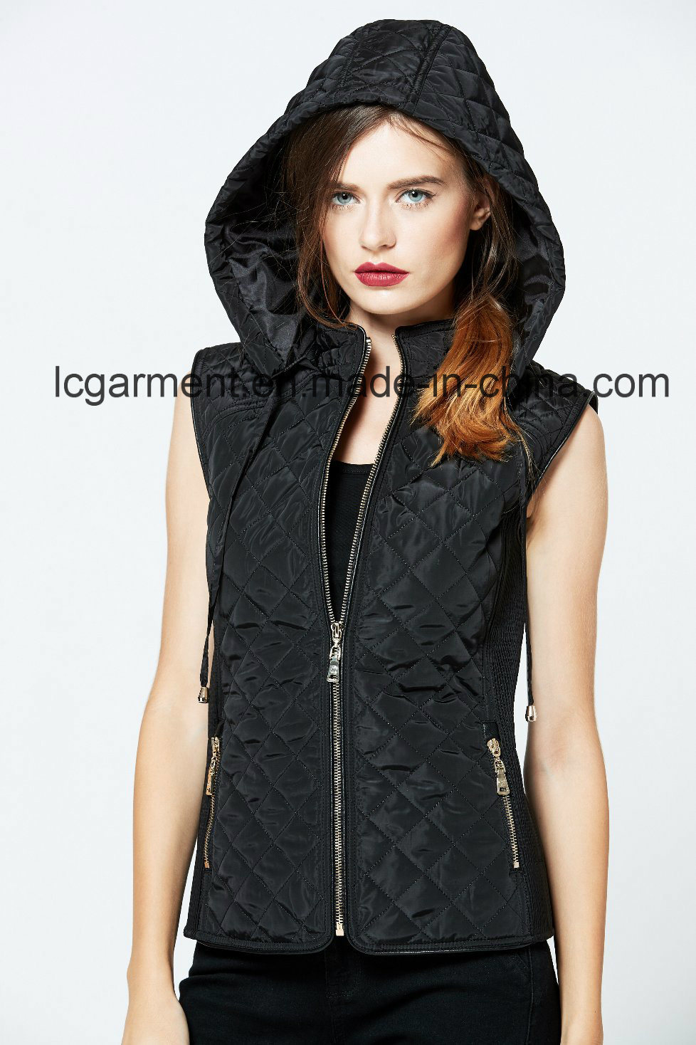 Hooded Winter Zipper Women Leather Vest Popular Design Women Waistcoat with Pockets