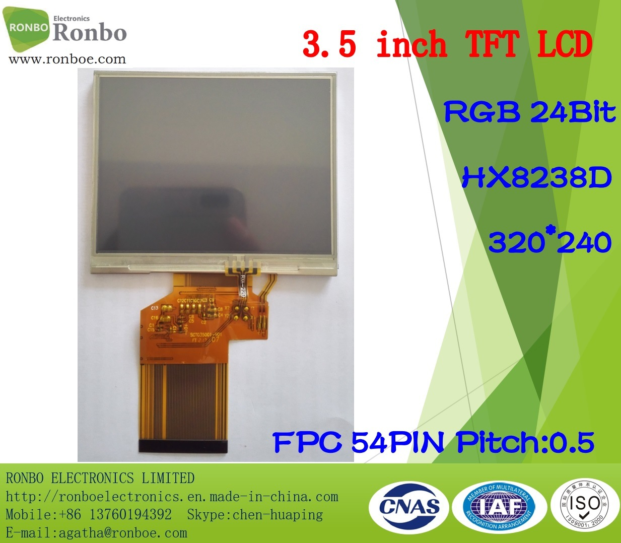"3.5"" 320X240 RGB 24bit TFT LCD Screen, Hx8238d, 54pin with Touch Panel"