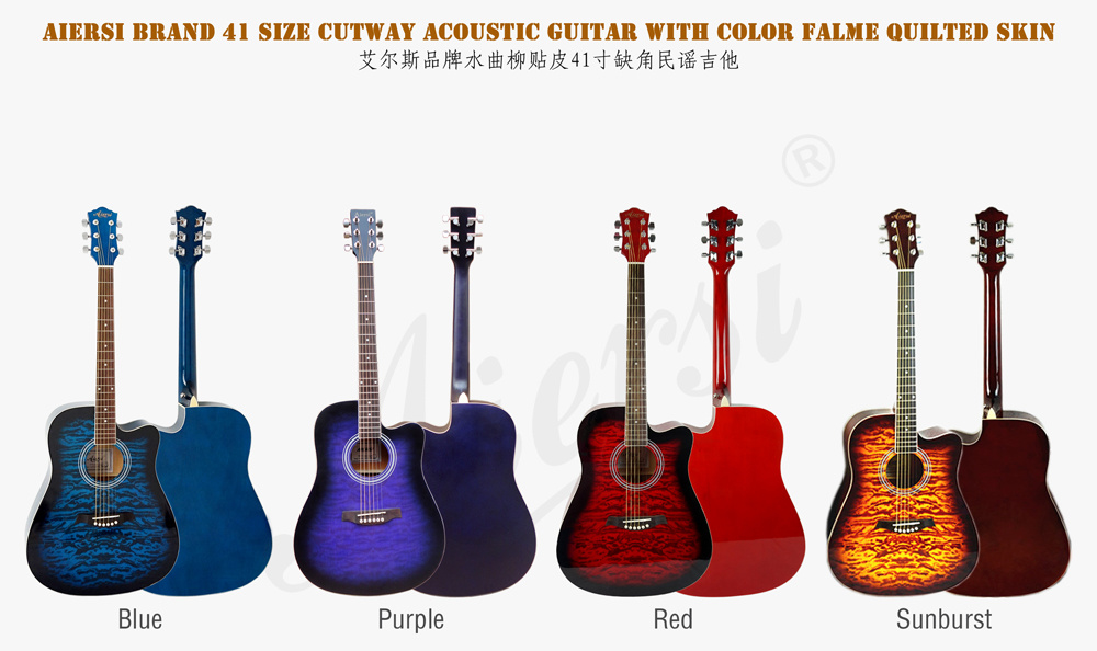 China Aiersi 41 Inch Quilted Skin Top Color Acoustic Guitar