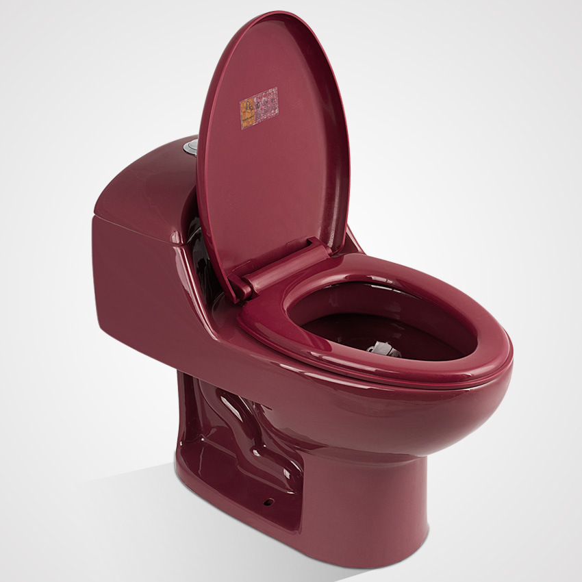 Porcelain Sitting with Seat Cover One Piece Wc Toilet, Wine Red