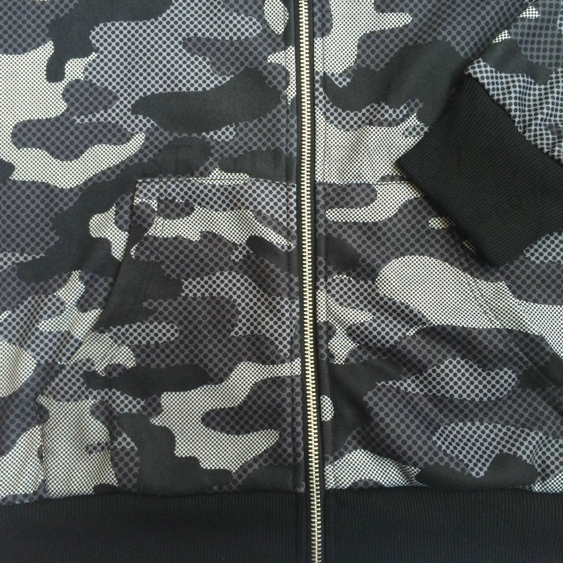 Army Cambo Print Jacket Hoodies Clothes with Zip-up Wear Fw-8661