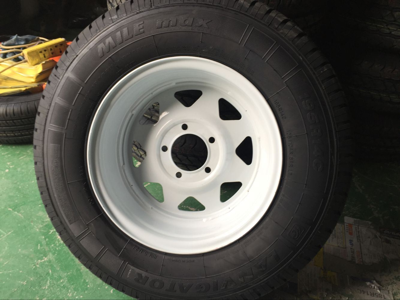 "Steel Spoke Trailer Wheel with - 15"" X 5"" Rim - 5 on 4-1/2 - White Powder Coat"