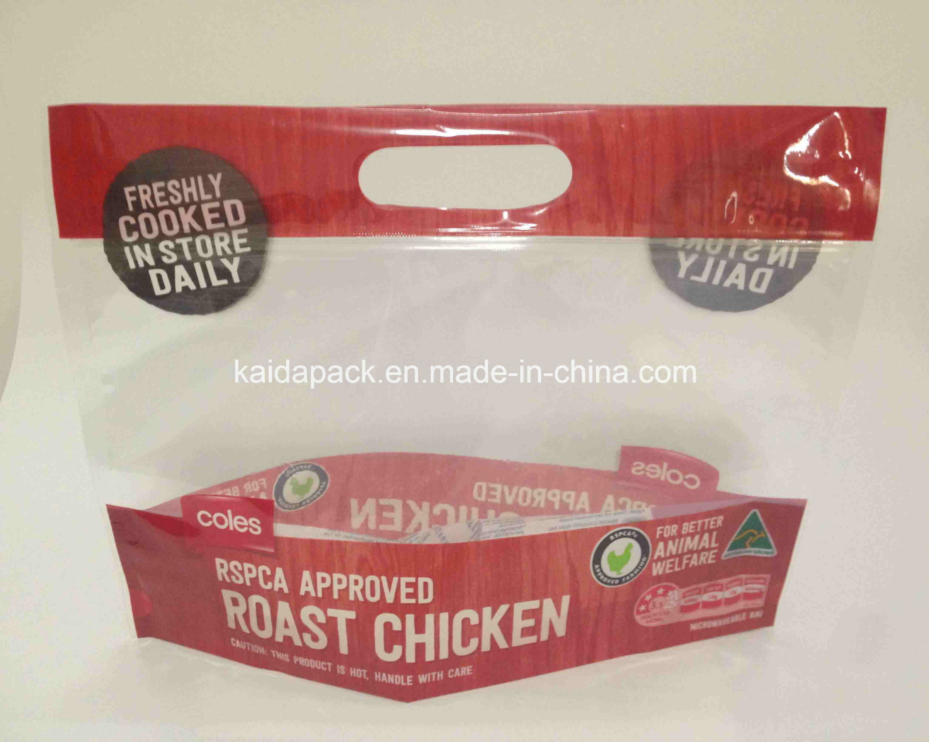 Stand up Handle Zipper Packaging Bag for Roast Chicken