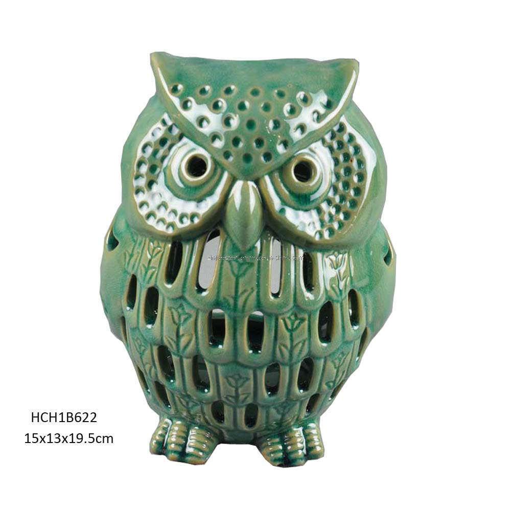 Ceramic Green Owl Tealight Candle Holder Hch1b622