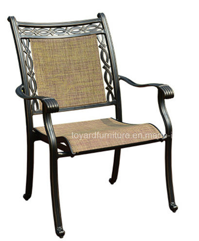 Best Quality China Outdoor Garden Cast Aluminum Chairs with Tan Textilene Mesh Back