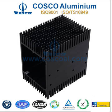 Cosco Aluminum/Aluminium Heat Sink with CNC Machined and Black Anodizing
