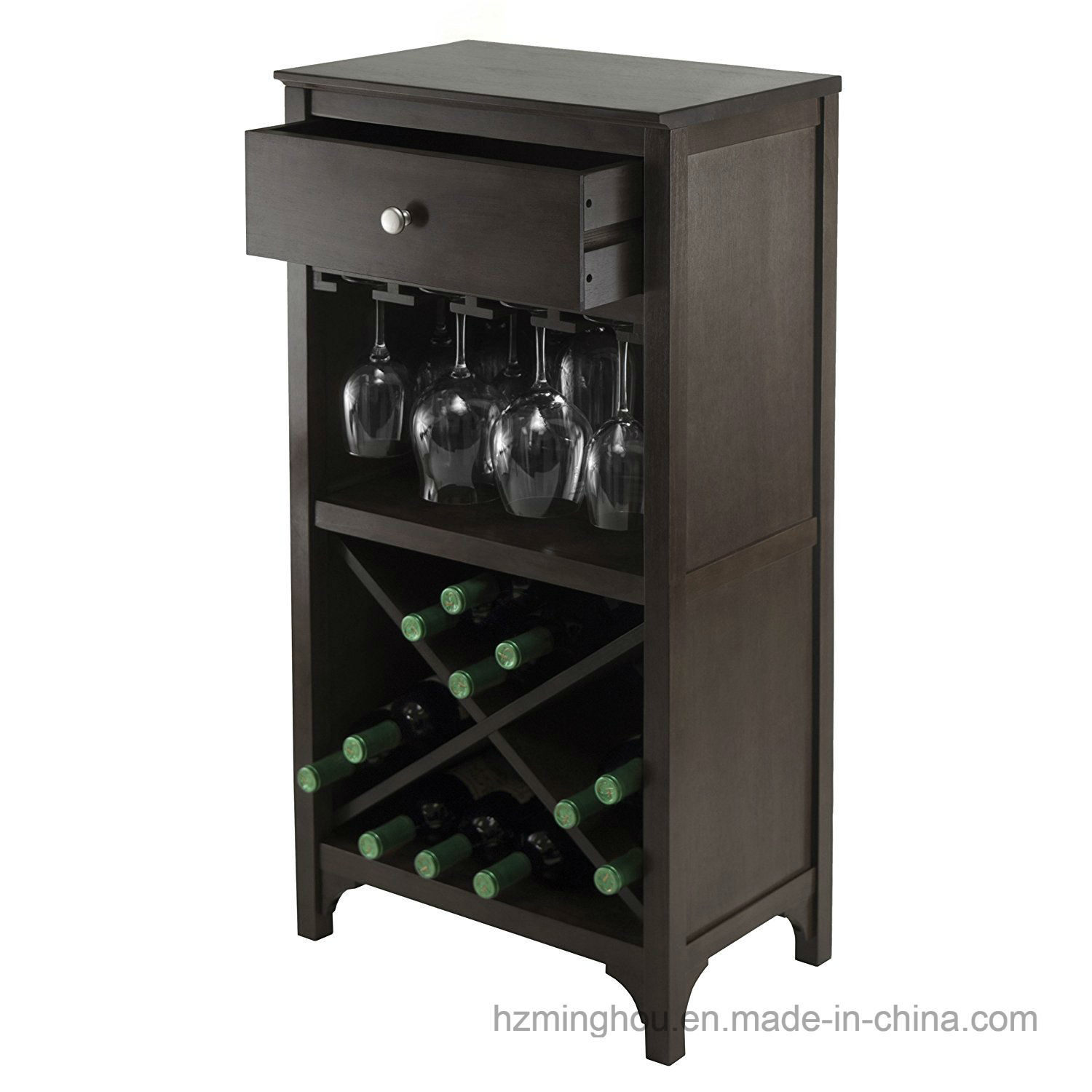 Winsome Wood Wine Rack Modern Wine Cabinet with Glass Rack