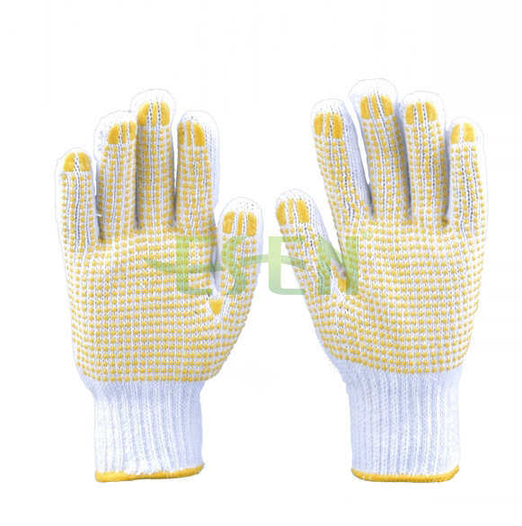 62g Industrial Used Safety Working Cotton DOT Gloves with Yellow PVC