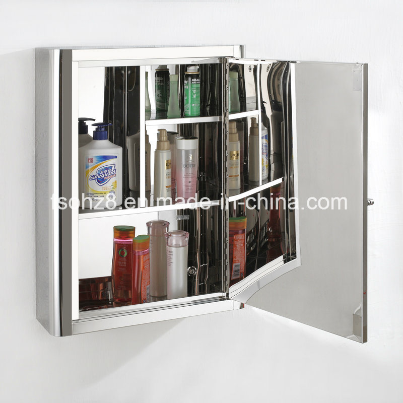 Stainless Steel Furniture Bathroom Two Specification Mirror Cabinet (7019)