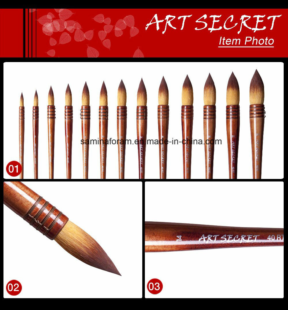 40rt Nylon Hair Wooden Handle Watercolor Artist Art Brush
