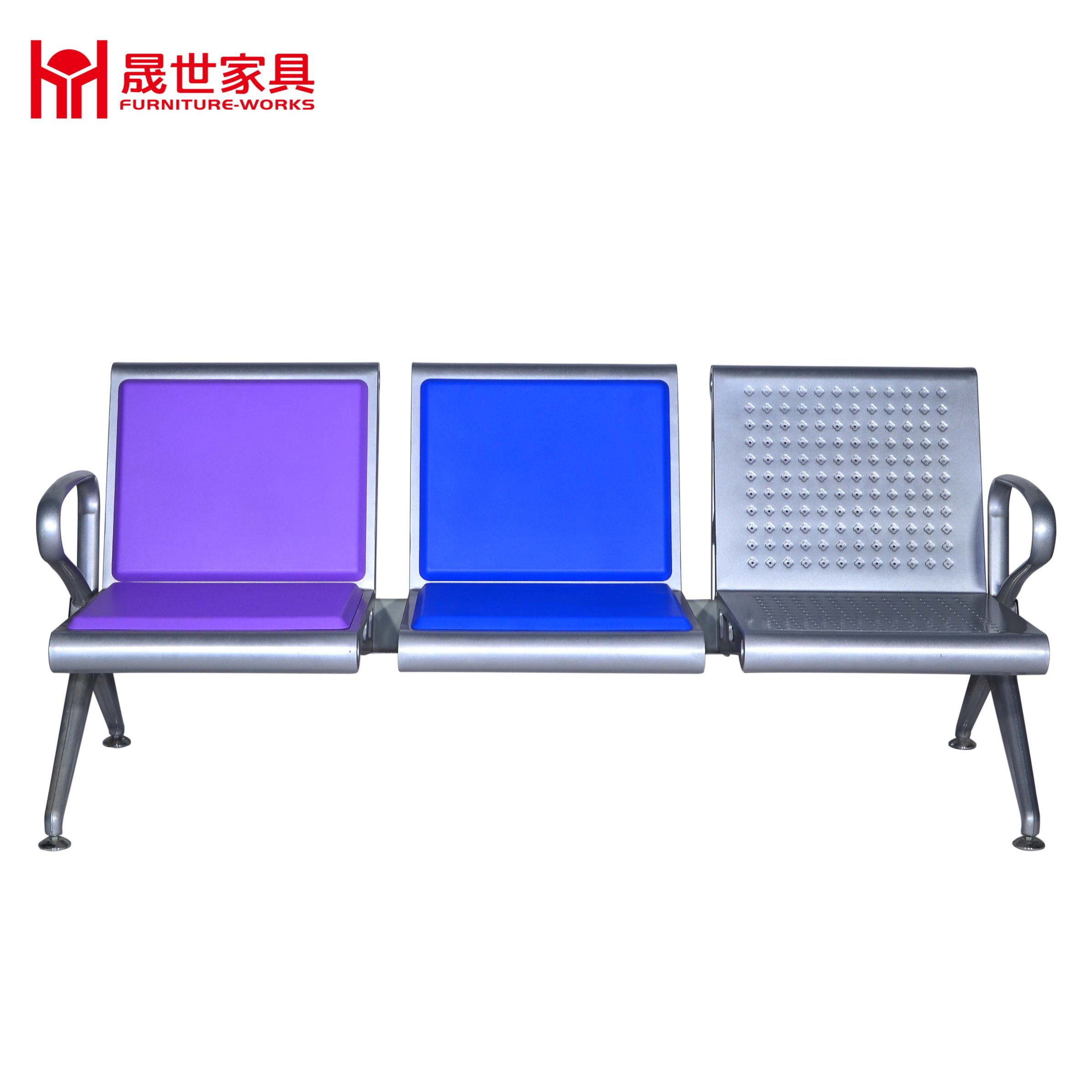 High Quality Bus Station/Airport/Hospital Metal Bench Airport Polyurethane PU Waiting Row Chair with 2.3.4.5 Seater
