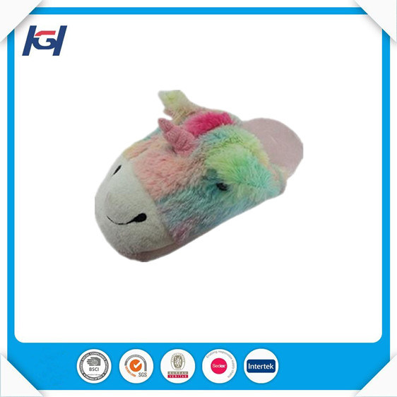 Novelty Colorful Plush Unicorn Animal Shaped Slippers for Adults