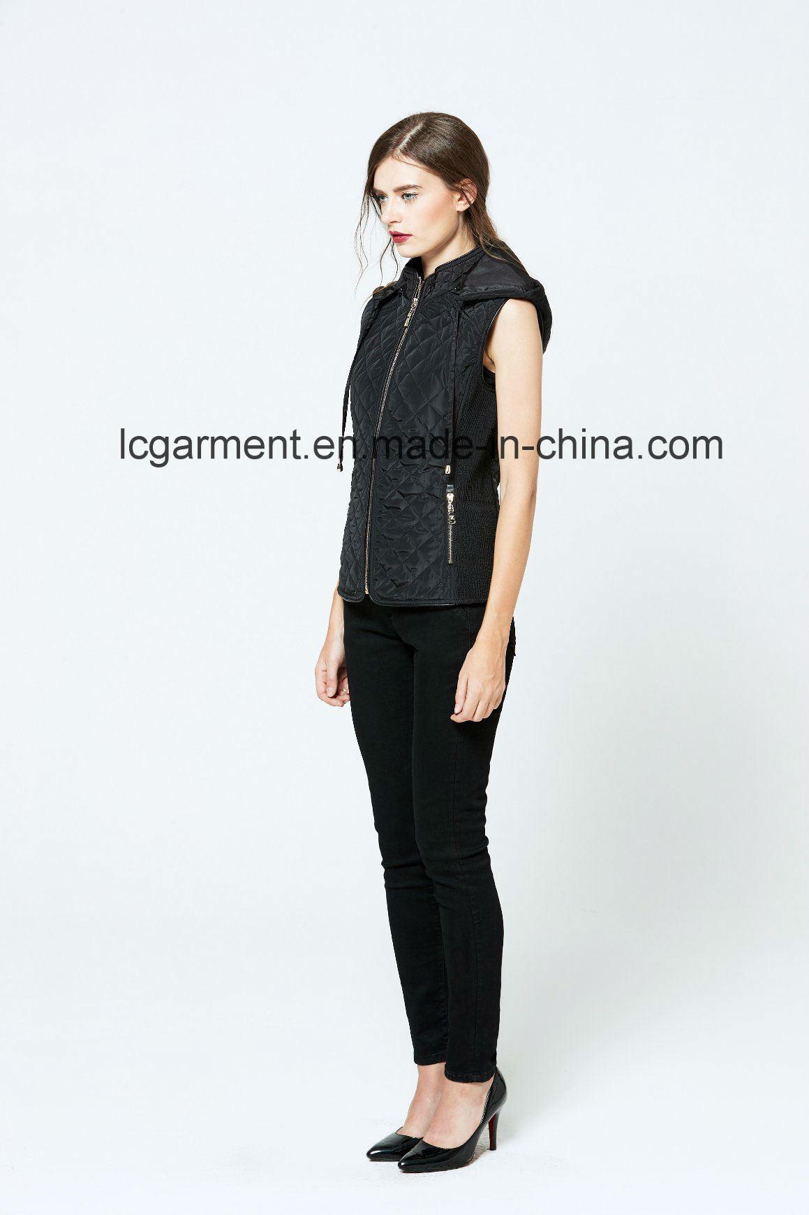 Hooded Winter Zipper Women Leather Vest Popular Design Women Waistcoat with Pockets