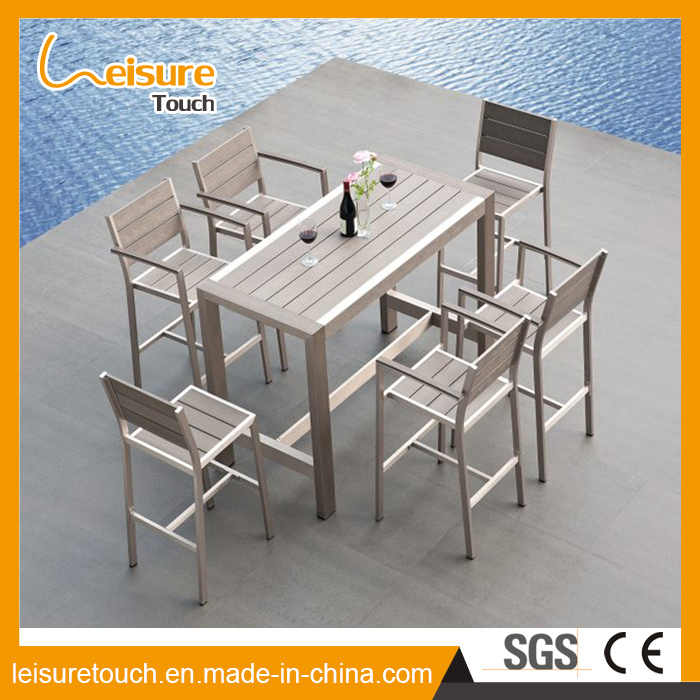 European Style Garden Restaurant Cafe Wiredrawing Aluminum Plastic Wood Chair Table Set