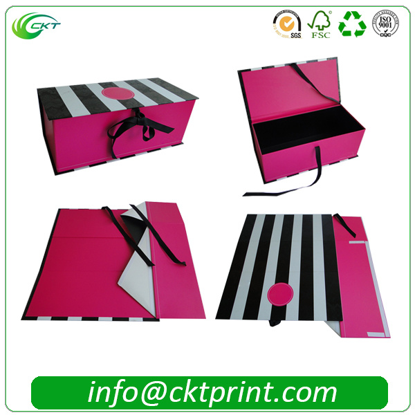 Rigid Folding Ribbon Cardboard Gift Clothes Packaging Box (CKT- CB-149)
