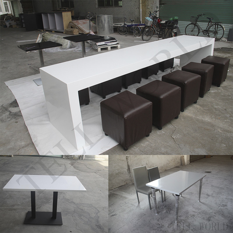 Wholesale Manufacturer White High Glossy Corian Acrylic Soild Surface Restaurant Table Chairs