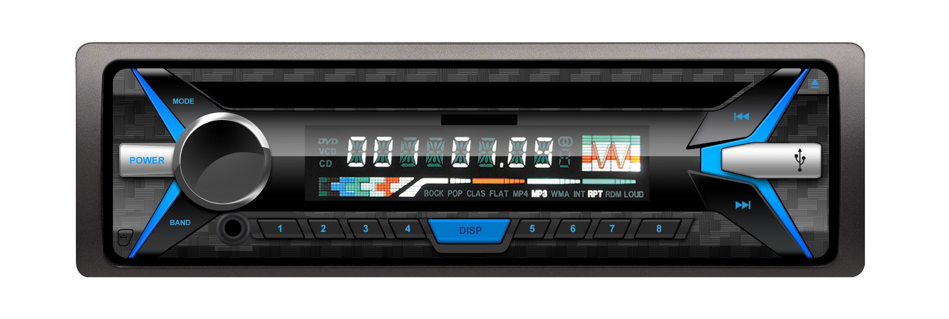 One DIN Detachable Panel Car CD/VCD/MP3/Radio/USB/SD Player