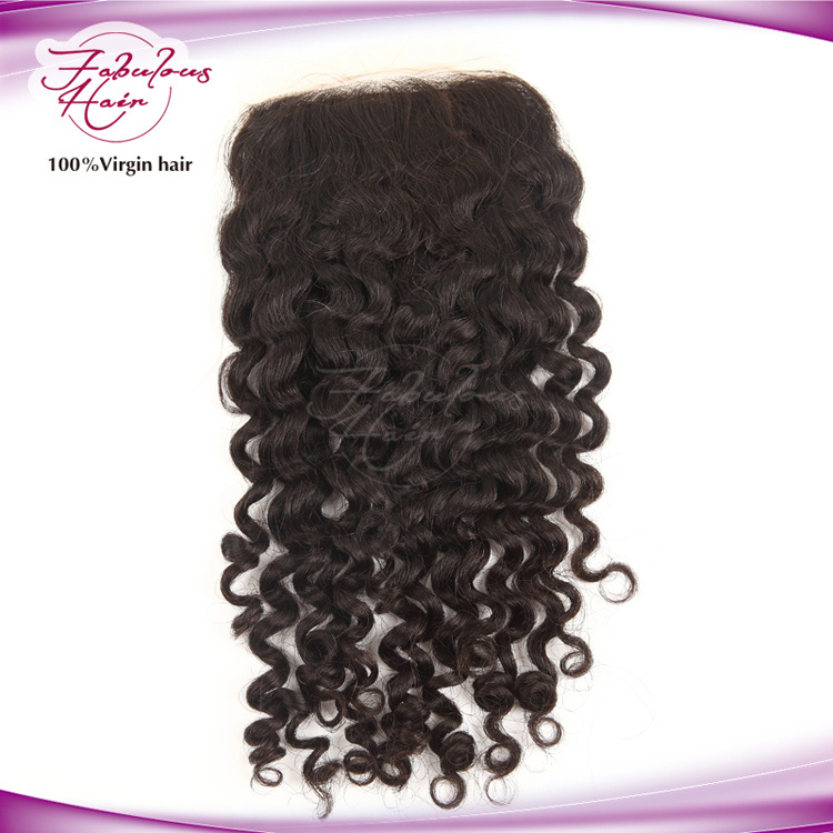 "Curly Hair Free/MID/Three Parting Malaydian 4""X4"" Lace Closure"