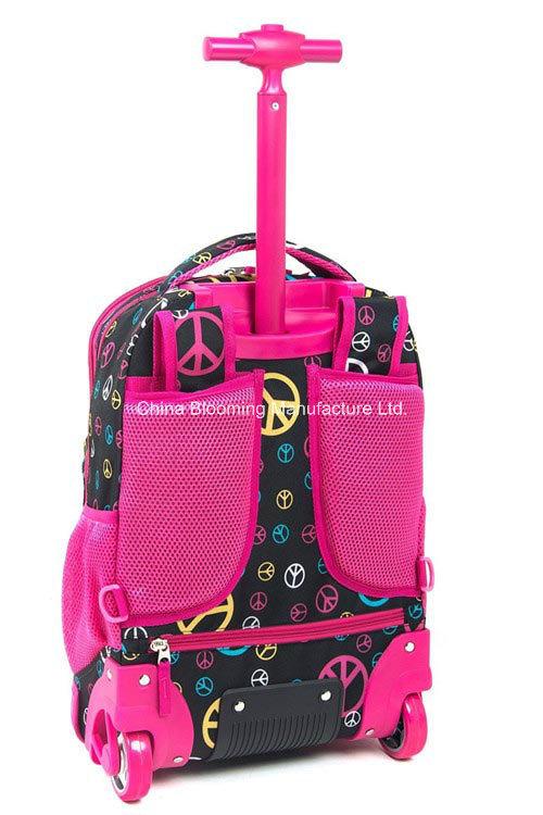 Kids Polyester Book Backpack Wheel Rolling Trolley School Bag