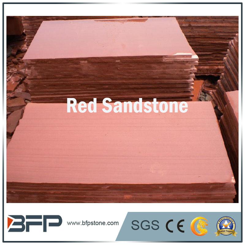 High Polished/ Honed/ Bush Hammered Natural Red Sandstone Slabs/ Tiles