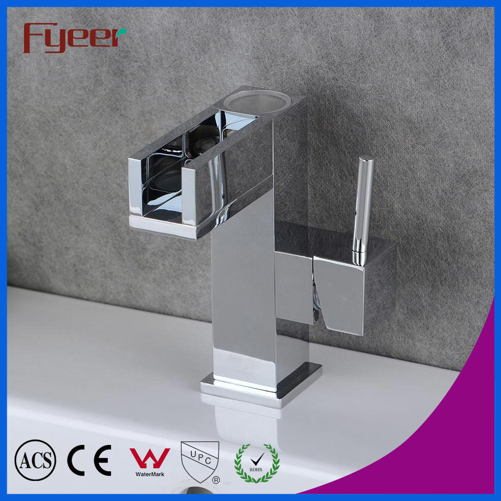Self-Power 3 Color LED Waterfall Brass Basin Water Faucet (QH0615AF)
