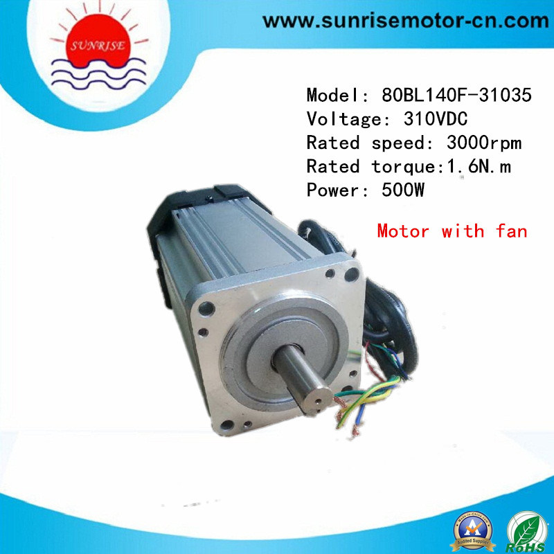 High Voltage 310VDC 500W 3000rpm Brushless DC Motor with Fan