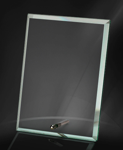 Jade and Clear Glass Crystal Trophy with Metal Stand Hotsale