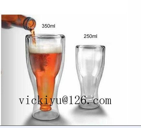 350ml Double Wall Beer Cup Heat-Resisting Glass Mug