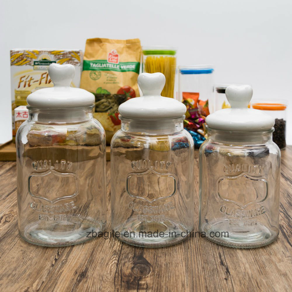 Factory Wholesale Food Ceramic Lid Storage Glass Jar (200046)