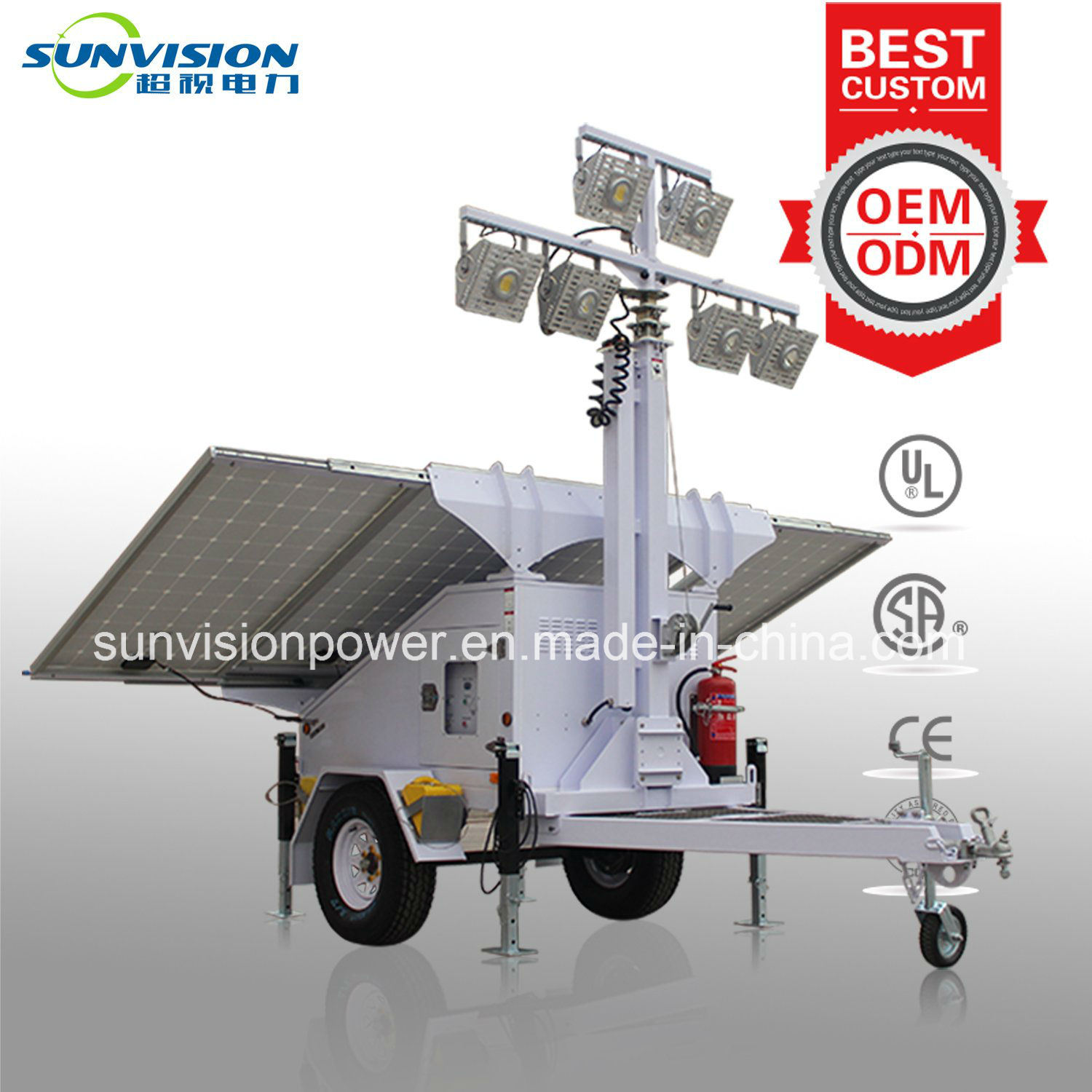 600W Mobile Light Tower with Solar Panel, Solar Light Tower with ISO/Ce