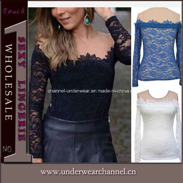 Gothic Semitransparent Ladies Tops Lace Short T-Shirt (25214)