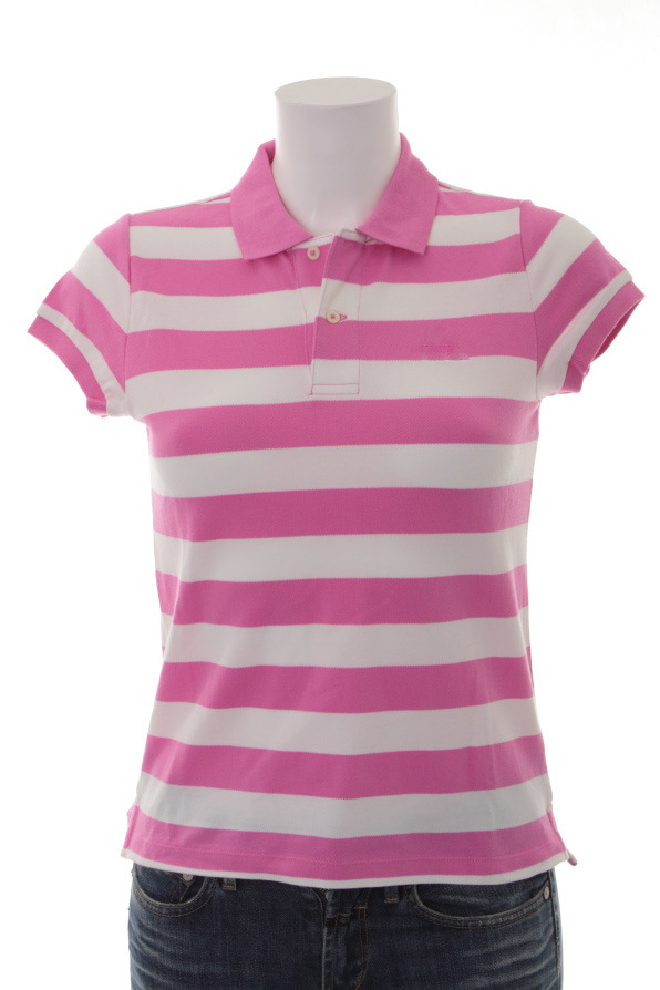 china female pink and white stripe cotton polo shirt