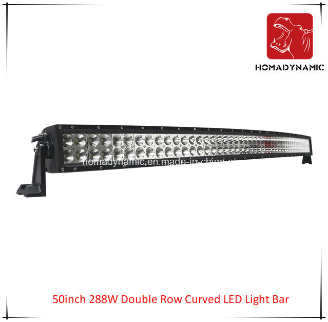 LED Car Light of 50inch 288W Double Row Curved LED Light Bar Waterproof for SUV Car LED off Road Light and LED Driving Light