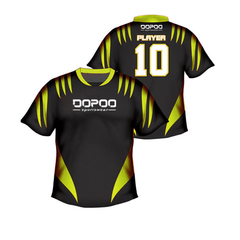 Black and Yellow Color Printed Soccer Jersey Shirt Cheap