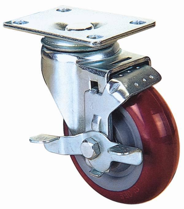 Swivel Industrial PU Caster Wheel (Red)