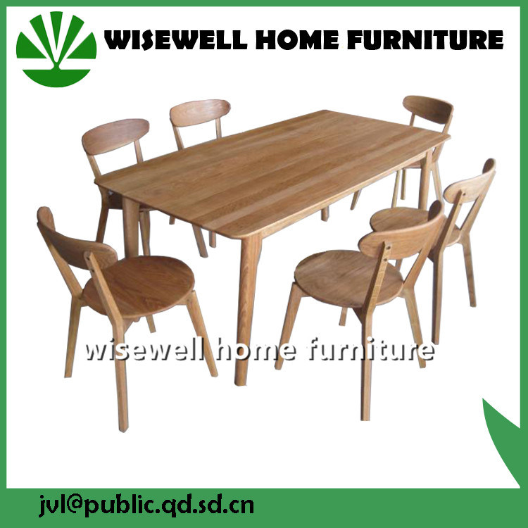 Oak Wood Dining Table with 6 Dining Chairs (W-DF-0636)