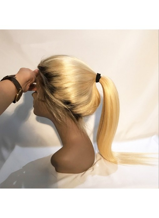 """Natural Hairline Dark Root Lace Wig Blonde Wig1b 10""""-15"""""""
