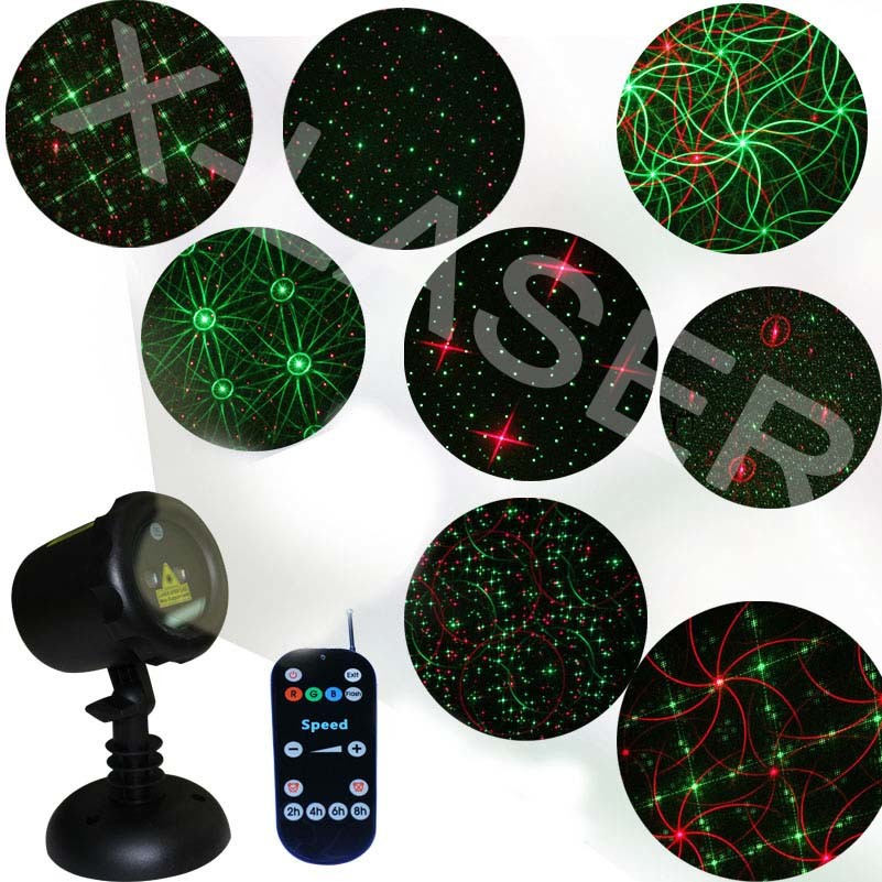 Outdoor Christmas Lights, Red Green Eight Flower Star Motion Laser Shower Projector