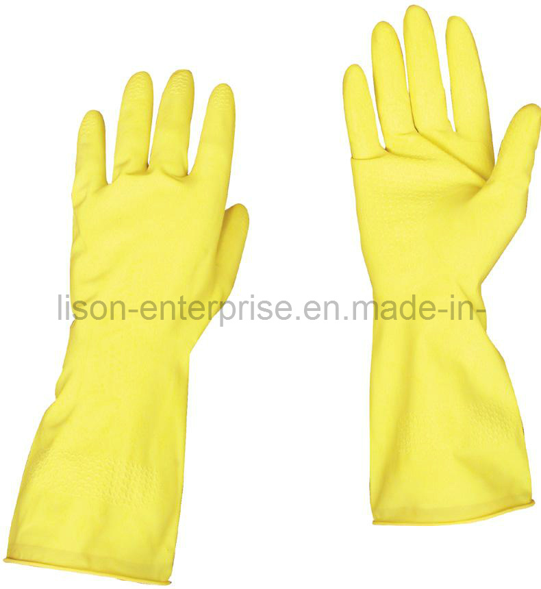Flock Lined Latex Household Gloves (LISON-HG001)