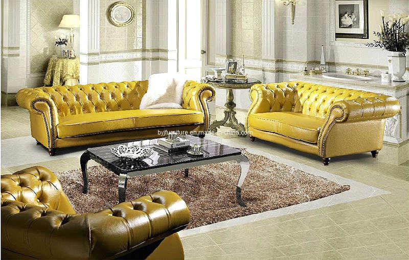 China Yellow Leather Sofa Fa018 China Living Room Furniture Sofa