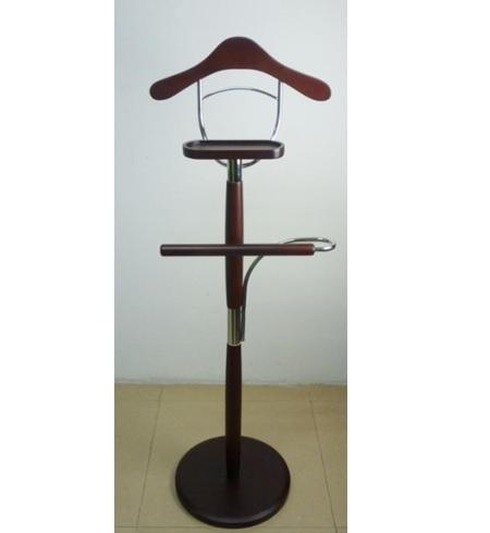 Chromed Steel Wooden Holder Garment Clothes Coat Suit Hanger