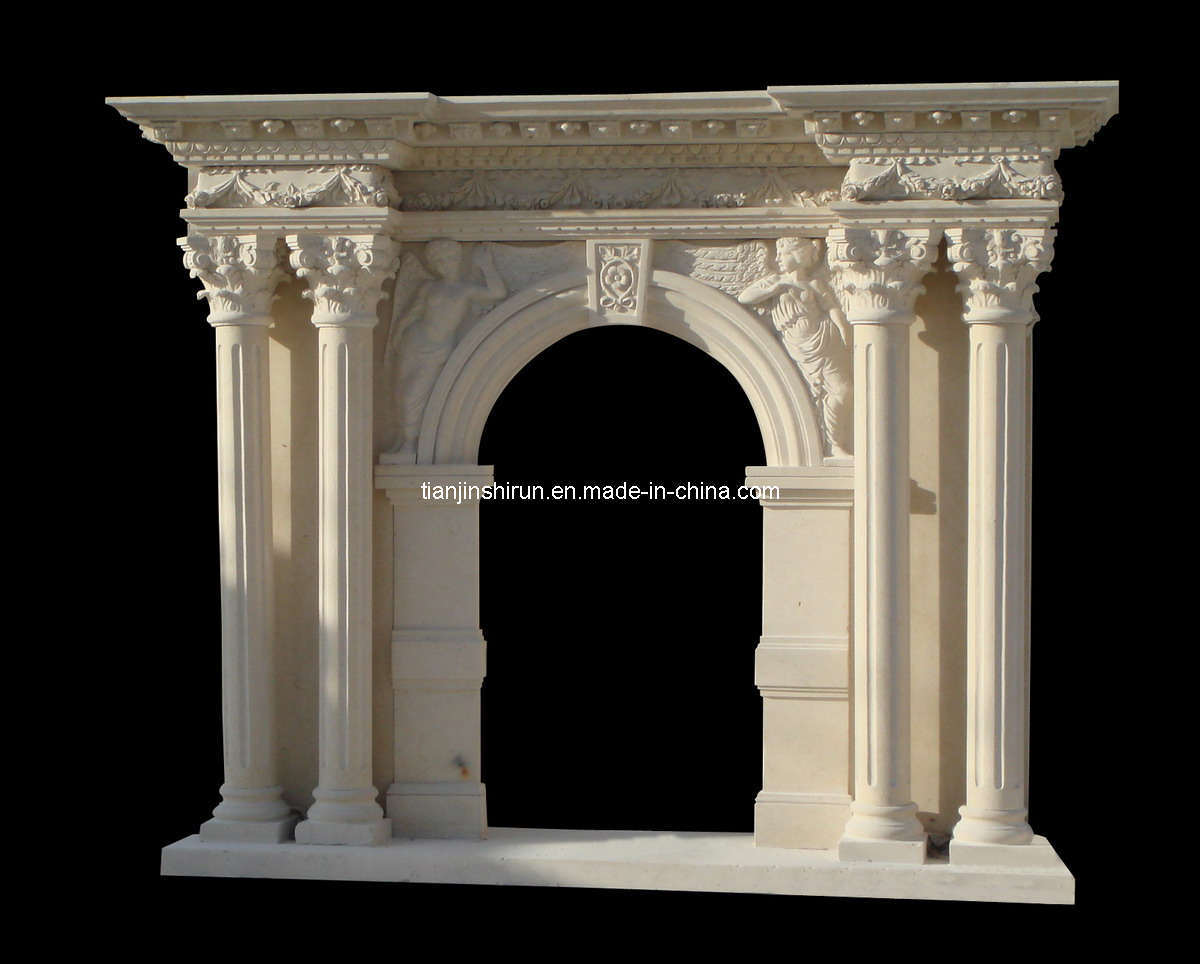 China Marble Carving Column Fireplace (9635) - China Marble ...