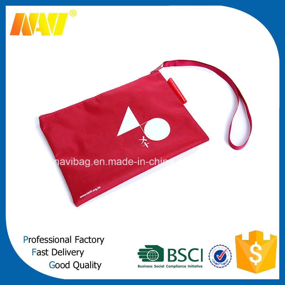 Portable Nylon Zipper Flat Cosmetic Pouch Bag